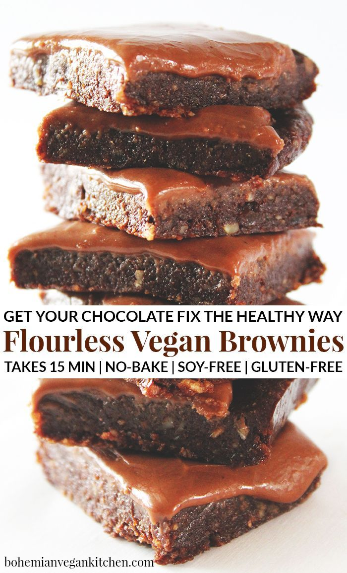 Flourless Vegan Brownies (Gluten-Free!) These flourless vegan brownies are just like chocolate heaven! Completely gluten-free, you don't have to worry about baking either- whip these brownies up in only 15 minutes and get your chocolate fix. You can thank me la