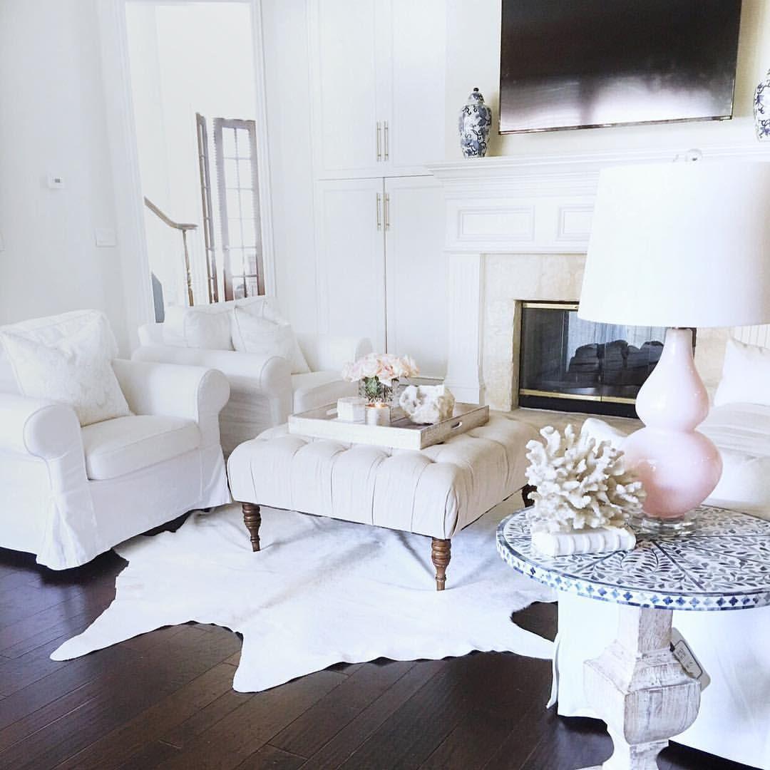 We Chose Dark Hardwood Floors For Our Home I Love The Contrast White Living Room Whi White Furniture Living Room Blush Living Room Decor Rugs In Living Room #rugs #for #hardwood #floors #in #living #room