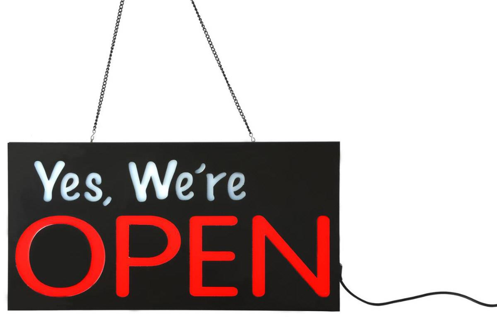 Yes We Re Open Led Sign With Hanging Chain 23 X 11 Rectangular Red White Open For Business Sign Open Signs Led Signs