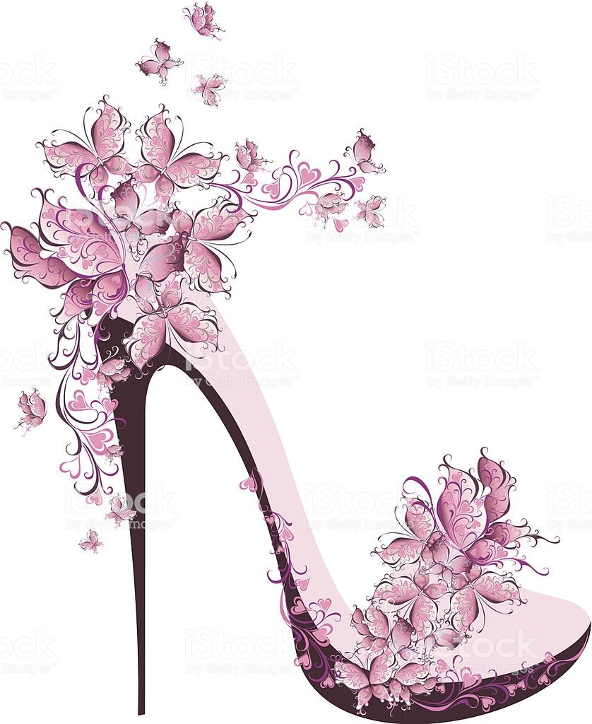 aed9a5063be Shoes on a high heel decorated with butterflies | Pinks in 2019 ...