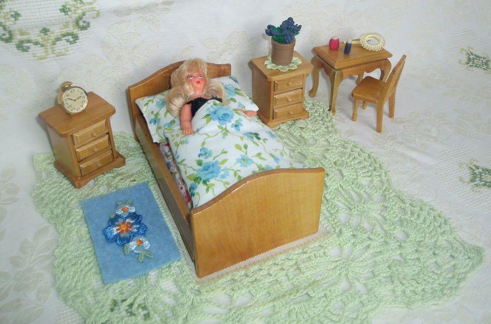 Puppenstube Schlafzimmer 118 Möbel Bett 2 Schränkchen Stuhl Ari - stuhl für schlafzimmer