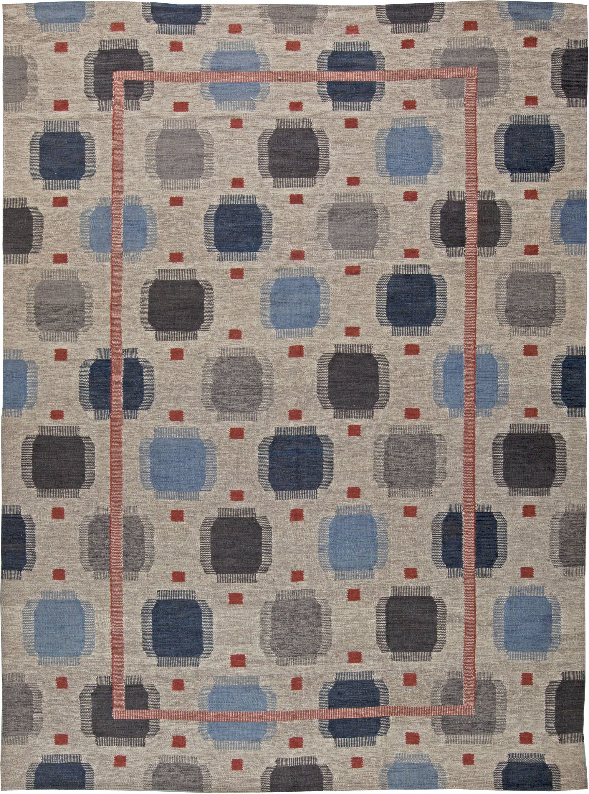Swedish Rugs Scandinavian Geometric Blue Rug From Doris Leslie Blau Features Hand Knotted Wool Pattern Swedishrug