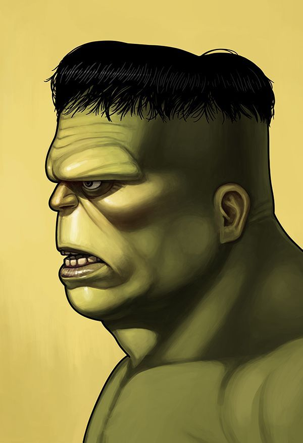 mike mitchell Marvel Character Portrait illustrated poster superhero hulk