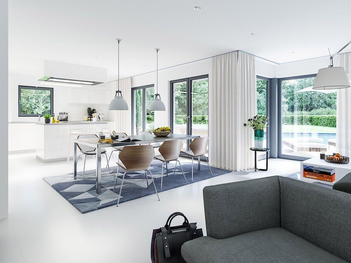 Wohnzimmer & Esszimmer modern mit Küche offen - Haus Ideen