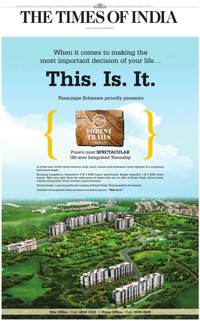 Launch Ad of Paranjape Schemes' Forest Trails 180 Acre Township at ...