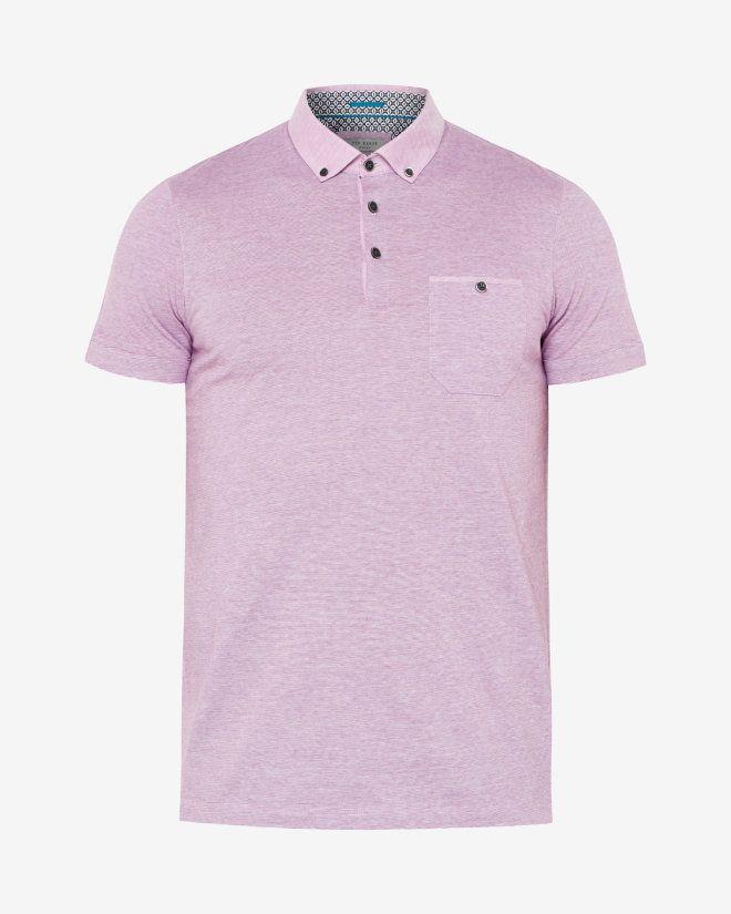 7dfc1402b9632c Linen collar striped polo shirt - Pink