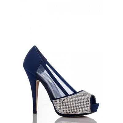 Quiz Blue Diamante Mesh Platform Shoes