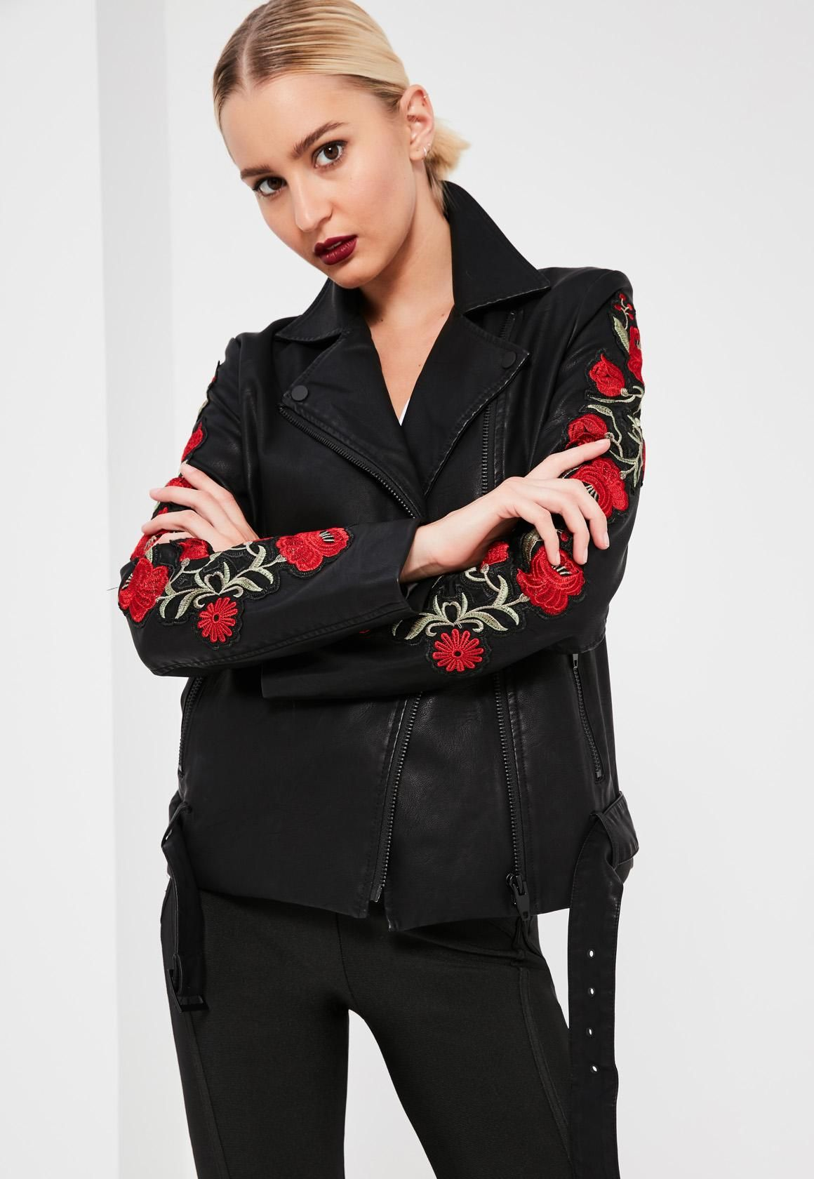 Missguided - Black Floral Embroidered Faux Leather Jacket