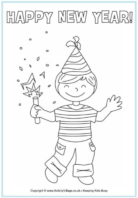 This New Year Colouring Page Features A Little Boy Celebrating The With Party Hat And Popper
