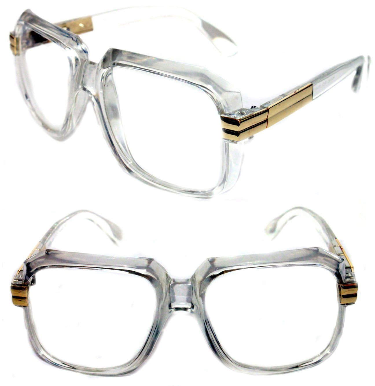 CLEAR FRAME AND CLEAR LENS OG OLD SCHOOL RAPPER COOL GLASSES Hipster Retro 80s