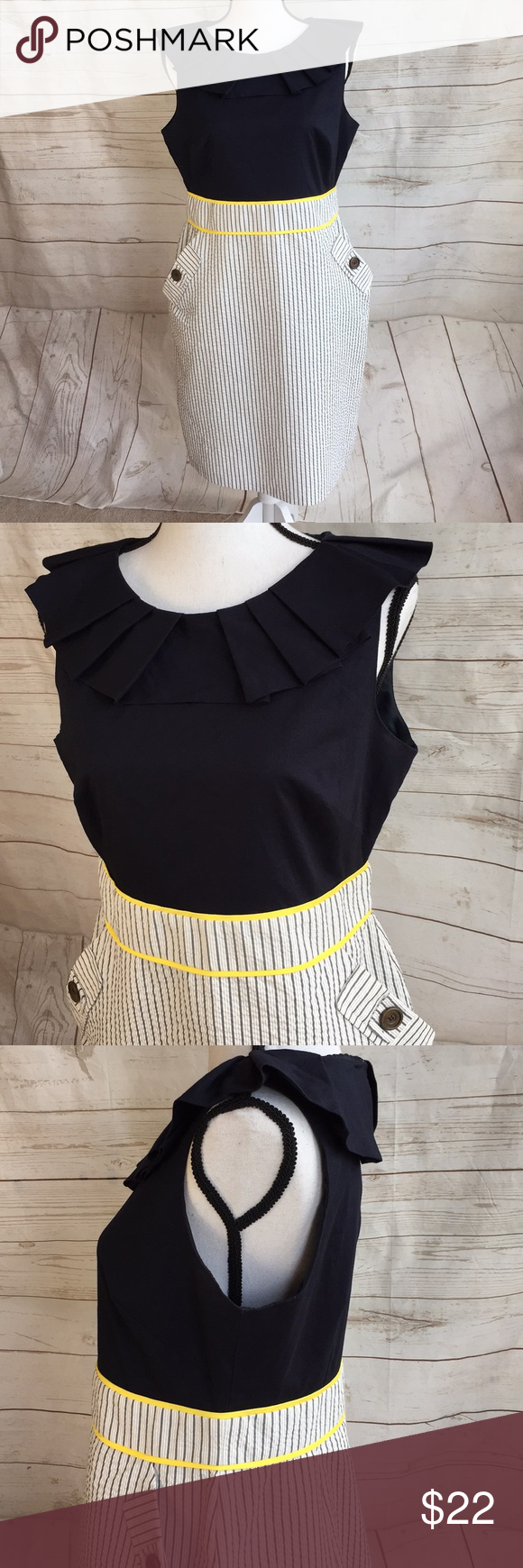 fa9de3af3c AGB navy blue and striped fitted dress 14 AGB fitted dress with navy blue  bodice with yellow trim at the waist and a white and blue striped skirt