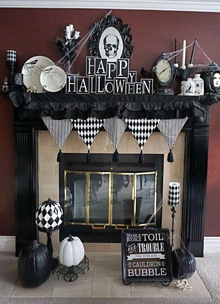 Photo Credit Adhlen Allred Grandin Road Spooky Decor Challenge 2016 Halloween Mantel Spooky Decor Spooky Halloween Decorations