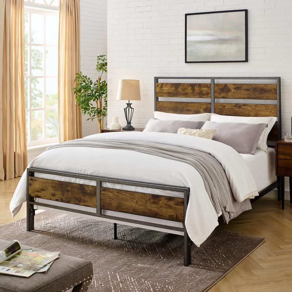 Walker Edison Furniture Company Industrial Queen Size Metal And Wood Plank Bed Brown Hdqslrw Rustic Bedding Adjustable Bed Frame Wood Planks
