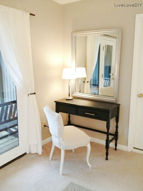 I spray painted the vanity mirror silver too and i also painted the table satin black and Vanity for master bedroom