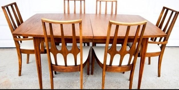 Broyhill brasilia dining table and 6 chairs original table pads broyhill brasilia dining table and 6 chairs original table pads stamped 1962 workwithnaturefo