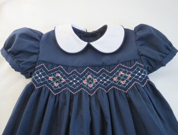 Poco küchenmöbel ~ Navy blue and pink hand smocked dress for baby. toddler girl. made
