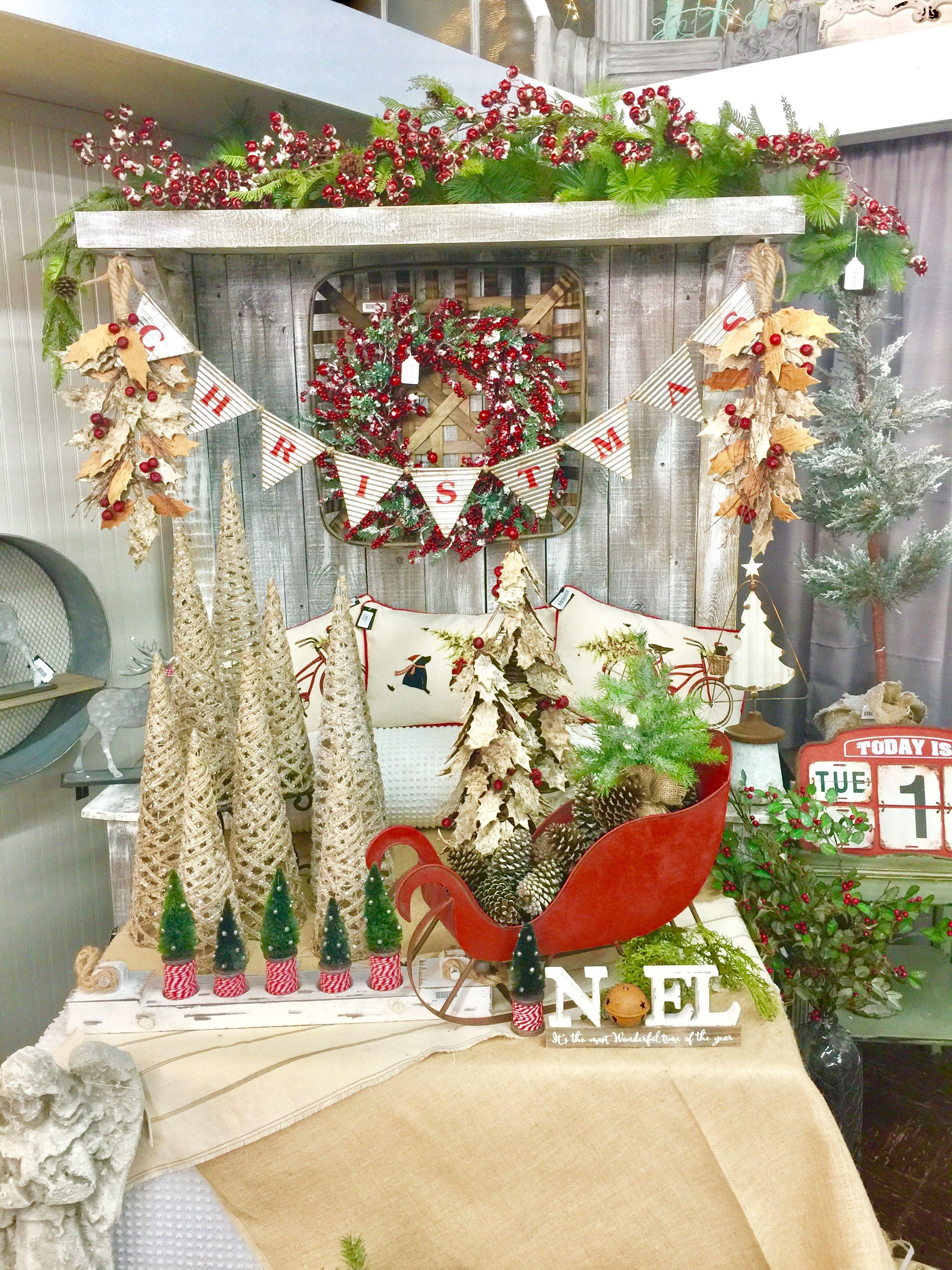 Farmhouse\ Country/ Rustic Christmas #RusticChristmas #FarmhouseChristmas #countrychristmas #christmasbanner #redsleigh #metalsleigh #jutetrees #christmastrees #juteconetrees #blessyourheart #blessyourheartofal #eclecticalabama