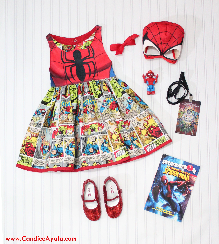 Diy spiderman avengers themed dress candice ayala diy spiderman avengers dress sewing for girls sewing for kids diy super hero spiderman visit to grab an amazing super hero shirt now on sale jeuxipadfo Images