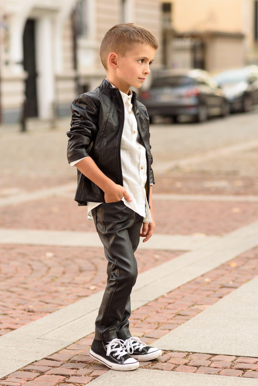 Boys black leather jacket/Faux leather short coat / Eco