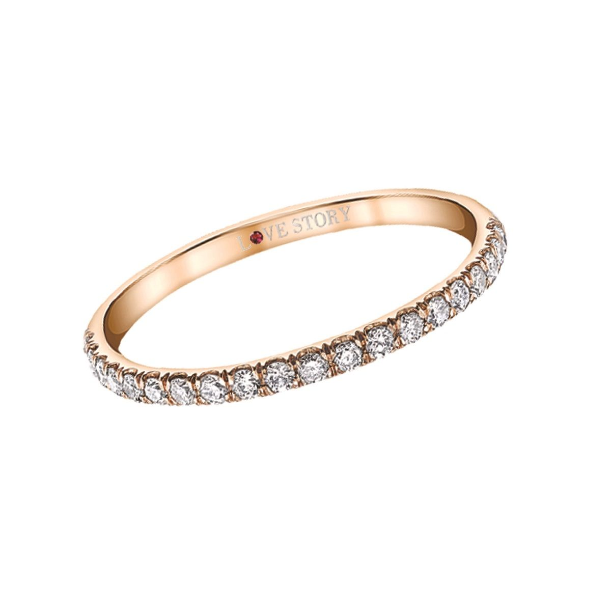 Tilted Halo Love Story Diamond Wedding Ring Steven Singer Jewelers #rosegoldband
