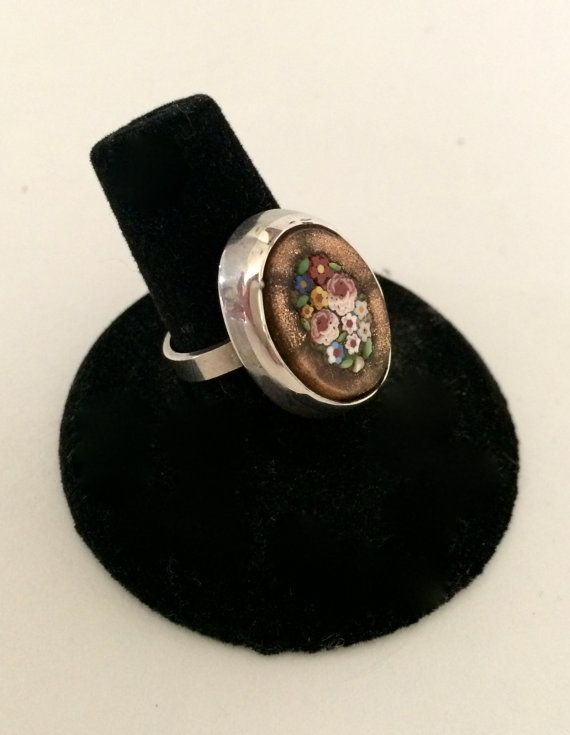 Silver Pietra Dura Micro Mosaic Ring by WhirleyShirley on Etsy