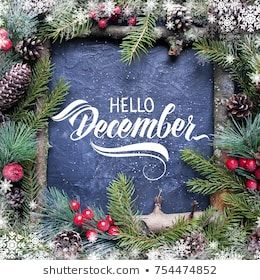 Hello December Hand Lettering Inscription Spruce Zdjęcie stockowe (edytuj teraz) 754474852 #hellodecember