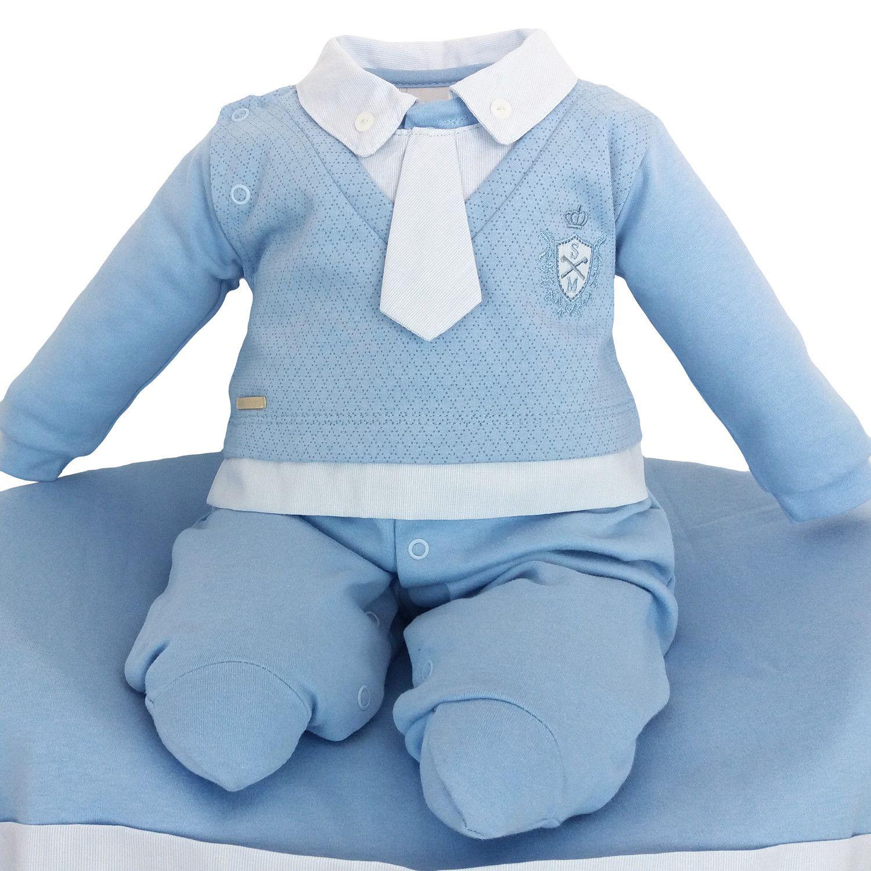 d7eaad1fd5576 Saída de Maternidade Sonho Mágico Azul Masculina com Gravata ...