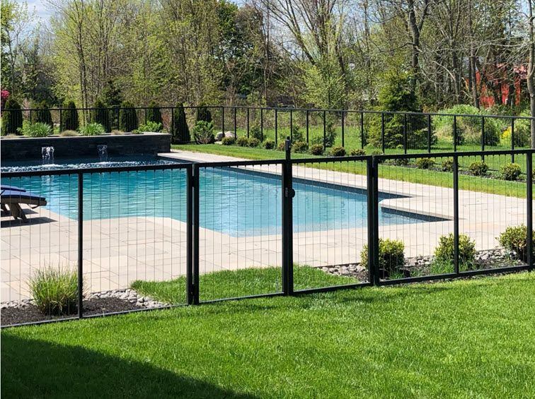 Black Cable Railing Pool Gate Pool Gate Pool Fencing Landscaping Fence Around Pool