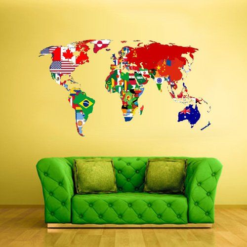 full color wall decal mural sticker decor art world map banners flag countries paintings col347