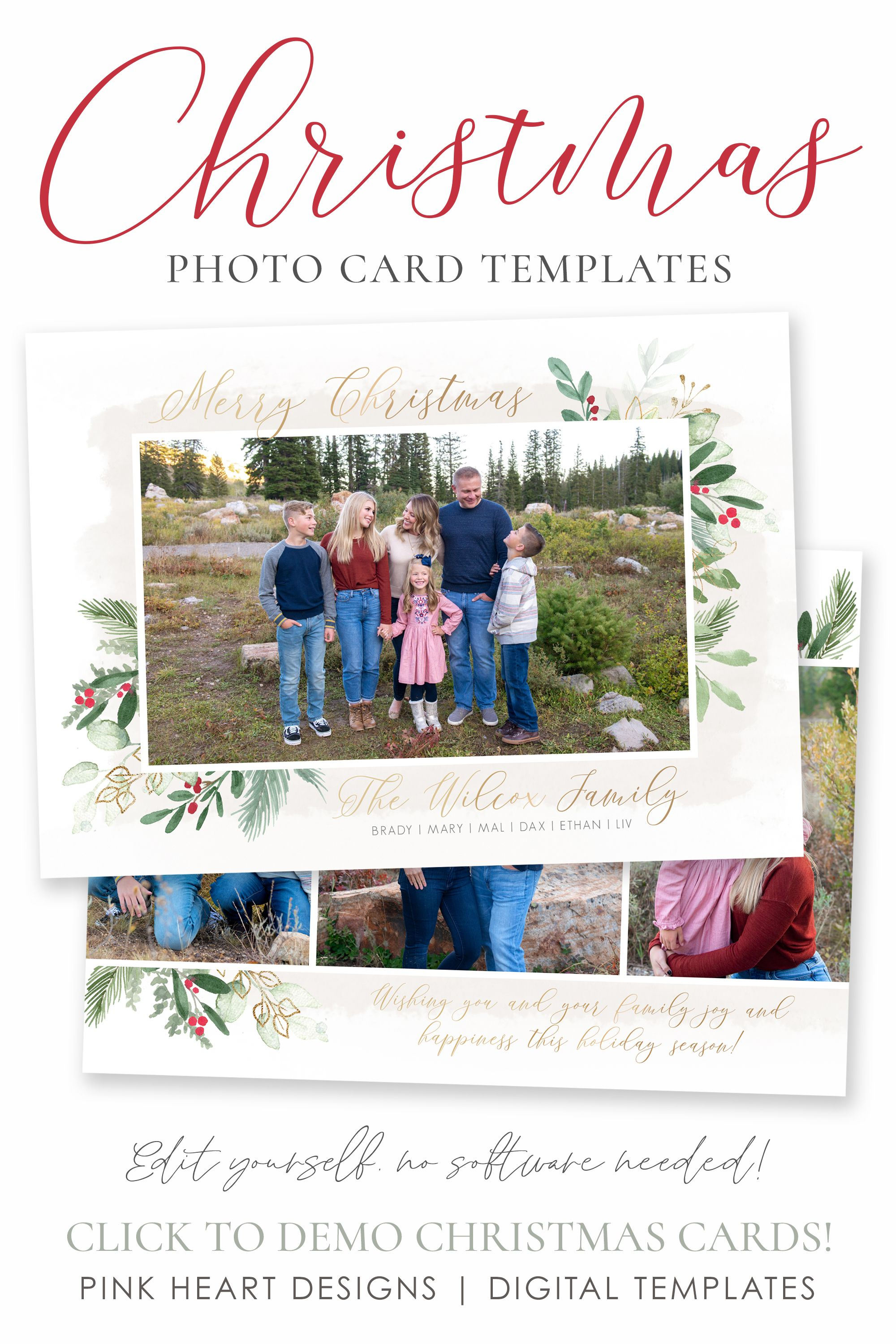 Christmas Card Template Christmas Cards Template 5x7 Photo Etsy Christmas Card Template Holiday Card Template Christmas Photo Cards