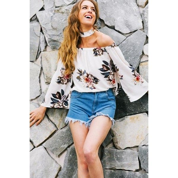 White Florals Off The Shoulder Bell Sleeve Top XSUGNA