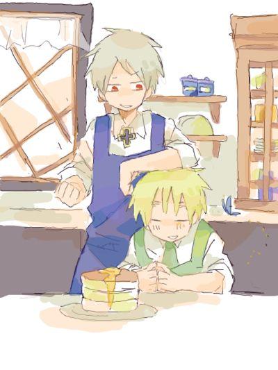 Hetalia - Prussia and England : Cooking Hotcakes !