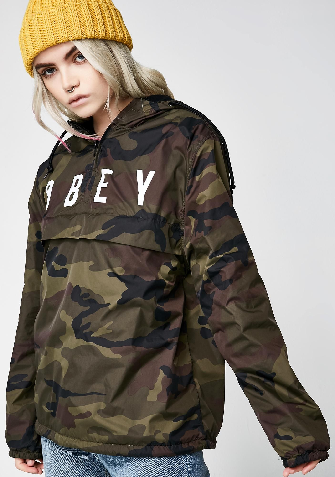 ae956806c622 75 Obey Anyway Anorak Coach Jacket cuz you ll do it anyway! Do what you  want with this lightweight anorak coach jacket that has a logo on the  front