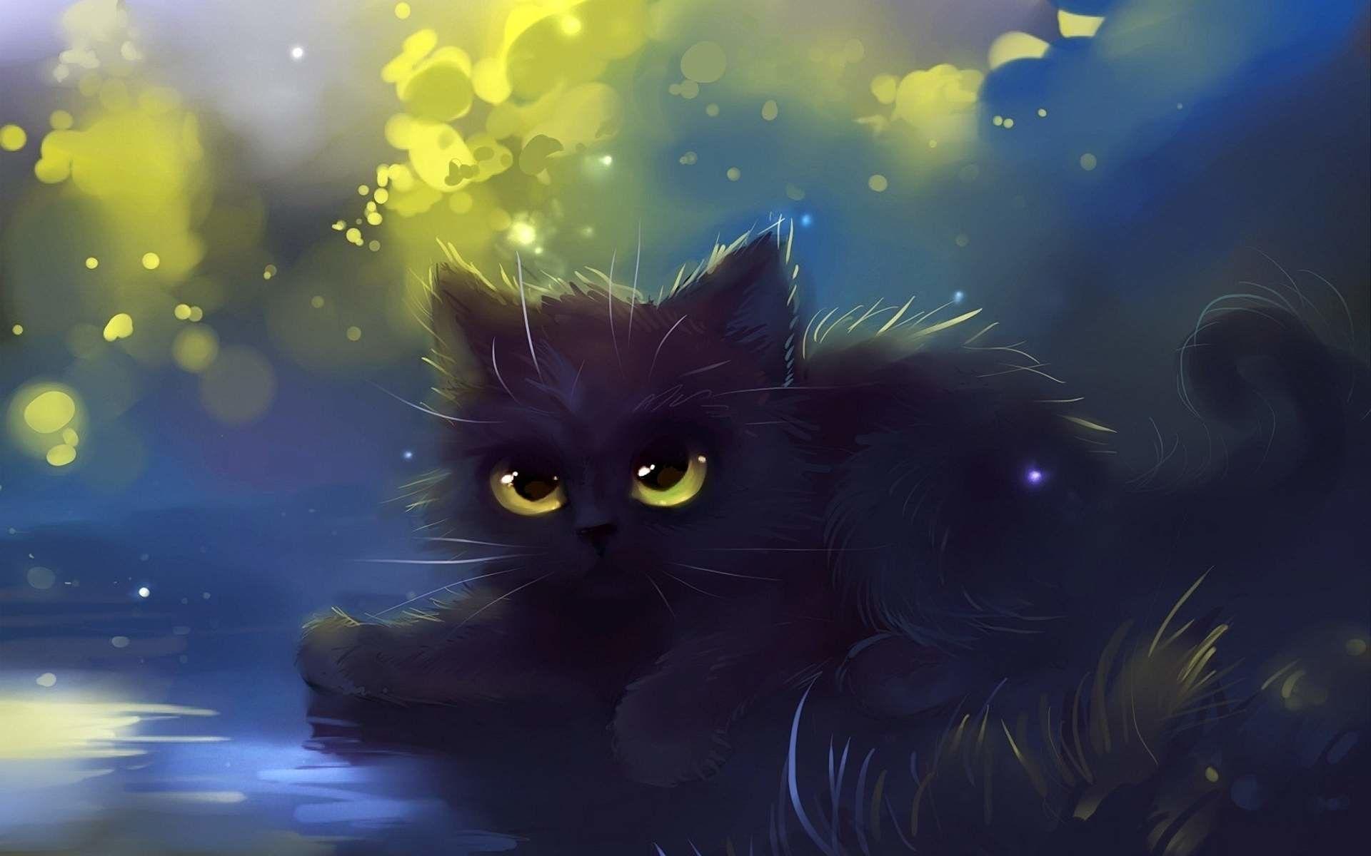 1920x1200 Cartoon Cat Wallpaper Black Cat Painting Black Cat