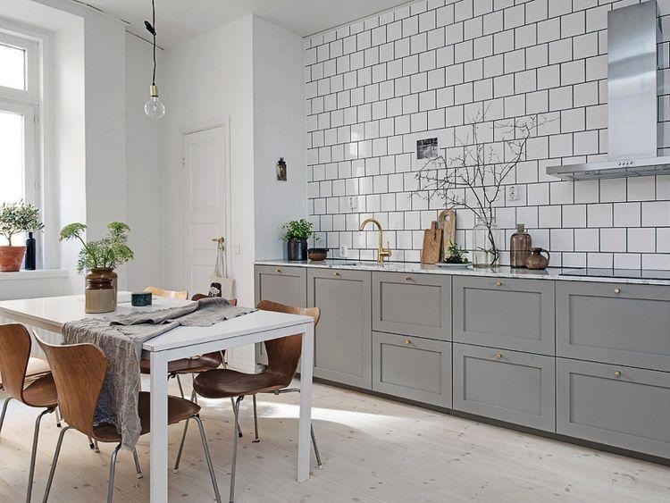Grey Kitchen With Marble Table Top Homesick Scandinavian Kitchen Design Kitchen Renovation Kitchen Interior