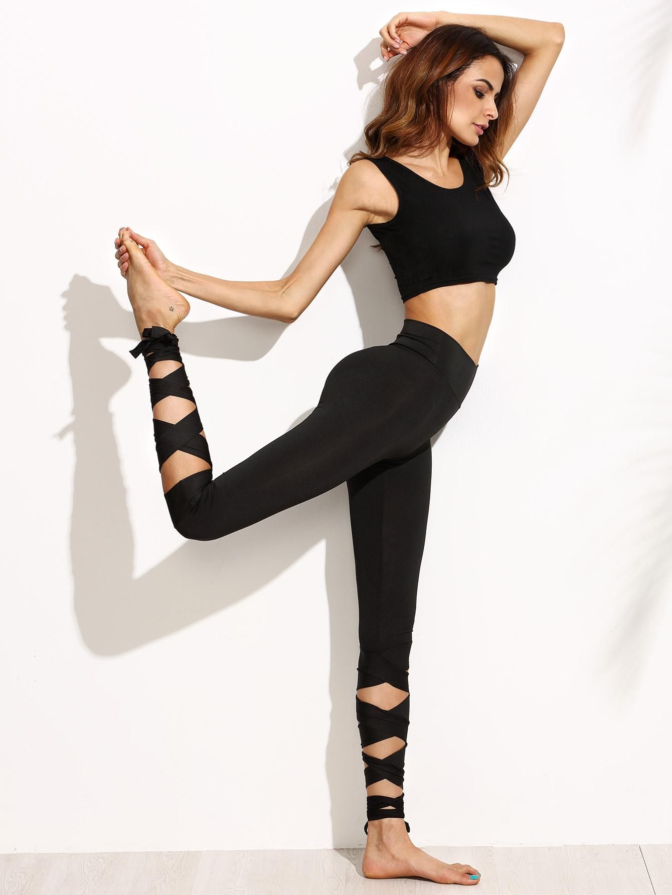 MakeMeChic - MAKEMECHIC Black Wide Waistband Tie Up Leggings - AdoreWe.com