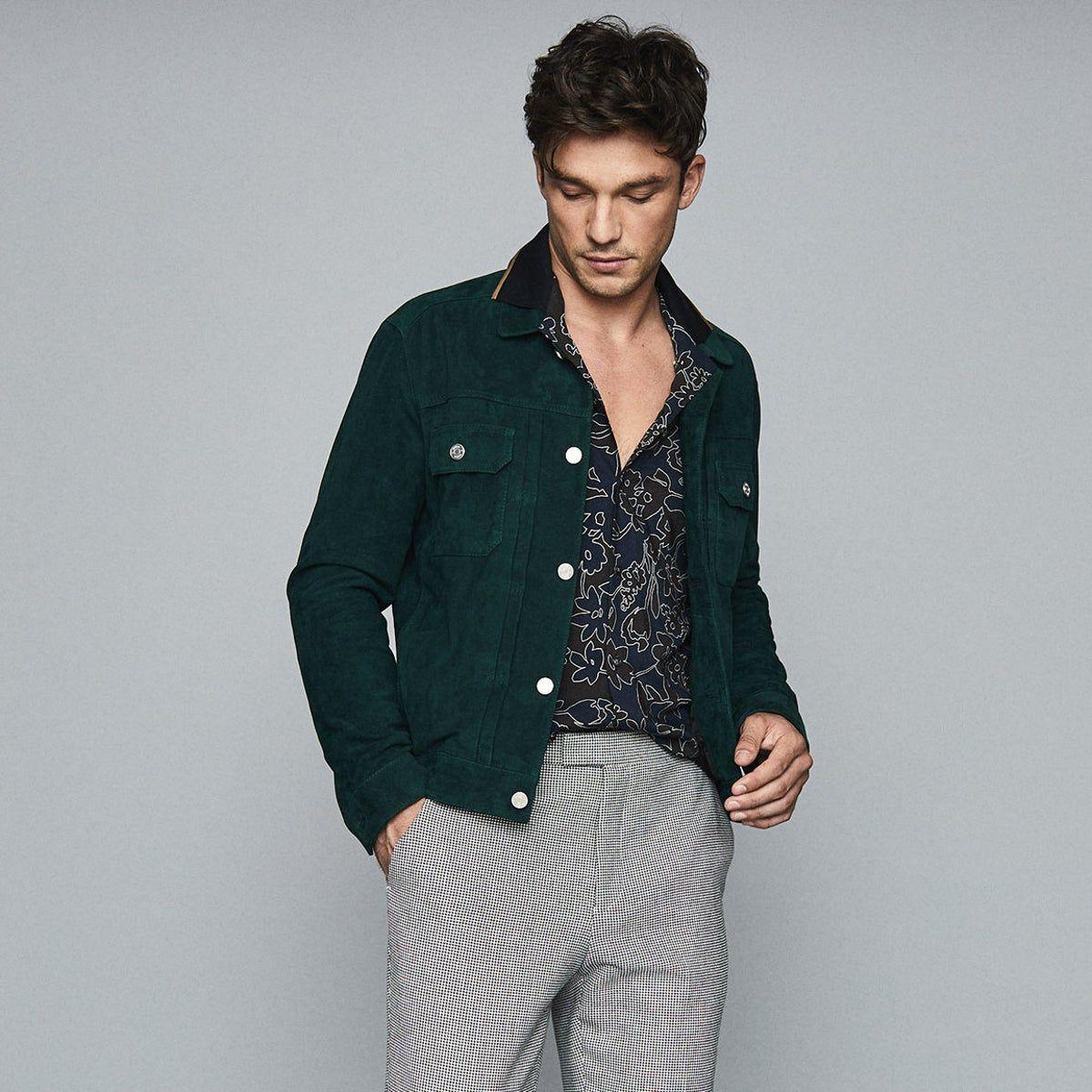 Scott Teal Suede Western Jacket Reiss Mens Clothing Styles Outerwear Jackets Western Jacket [ 1200 x 1200 Pixel ]