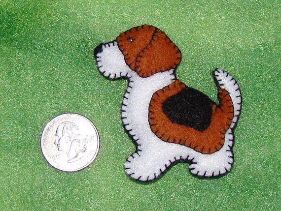 Beagle Magnet Christmas Ornament Handmade Felt Original Felt
