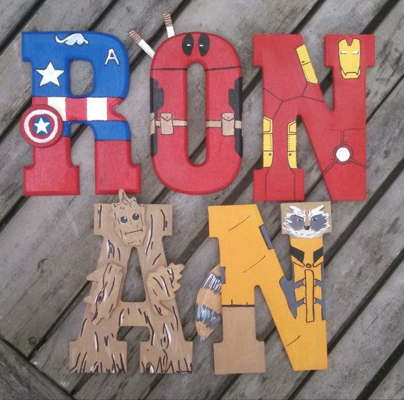 Hand Painted Tall Wood Letters Marvel By TheHandpaintedHero