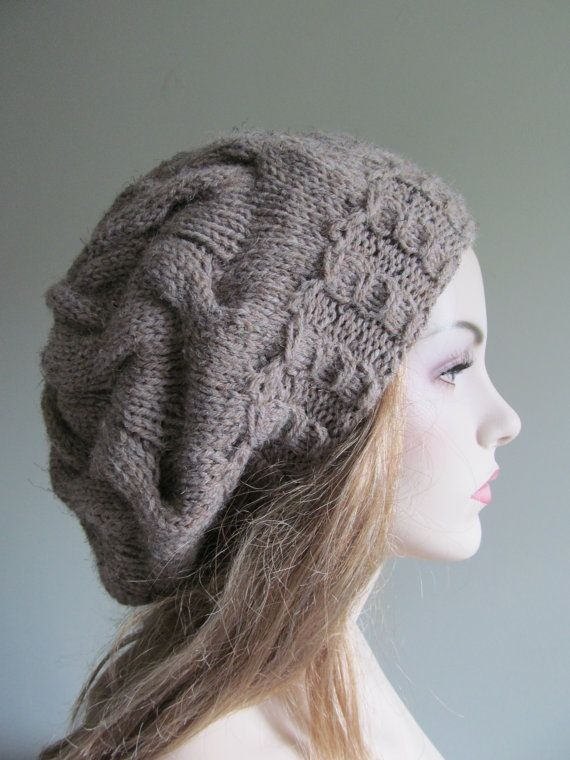 Grey Slouchy Hats Oversize Berets Baggy Beanie Gray by Lacywork | My ...