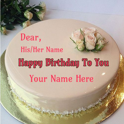 White Chocolate Rose Birthday Cake With Your Name Morning
