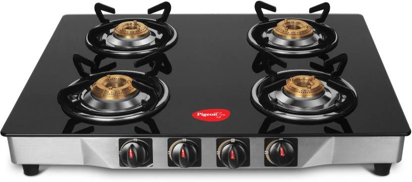 Pigeon Ultra Glass Stainless Steel Manual Gasstove 4 Burners