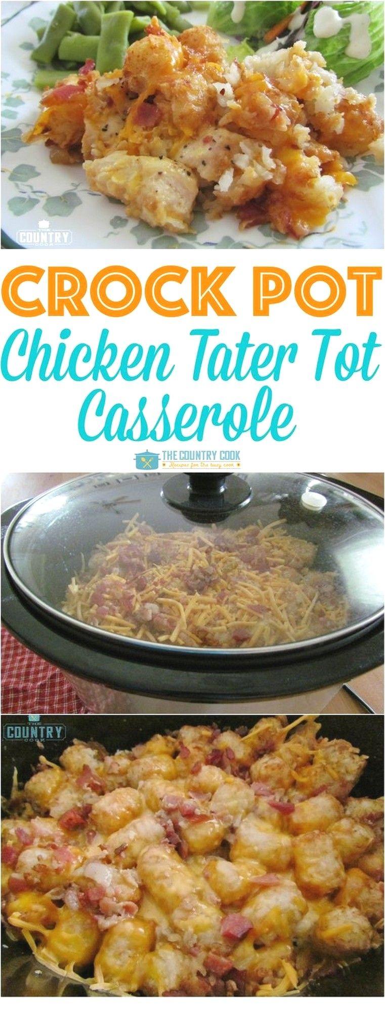 Crock Pot Cheesy Chicken Tater Tot Casserole | Crockpot Recipes #healthycrockpotchickenrecipes