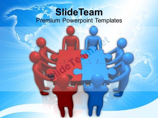red blue two teams holding puzzle powerpoint templates ppt themes - puzzle powerpoint template
