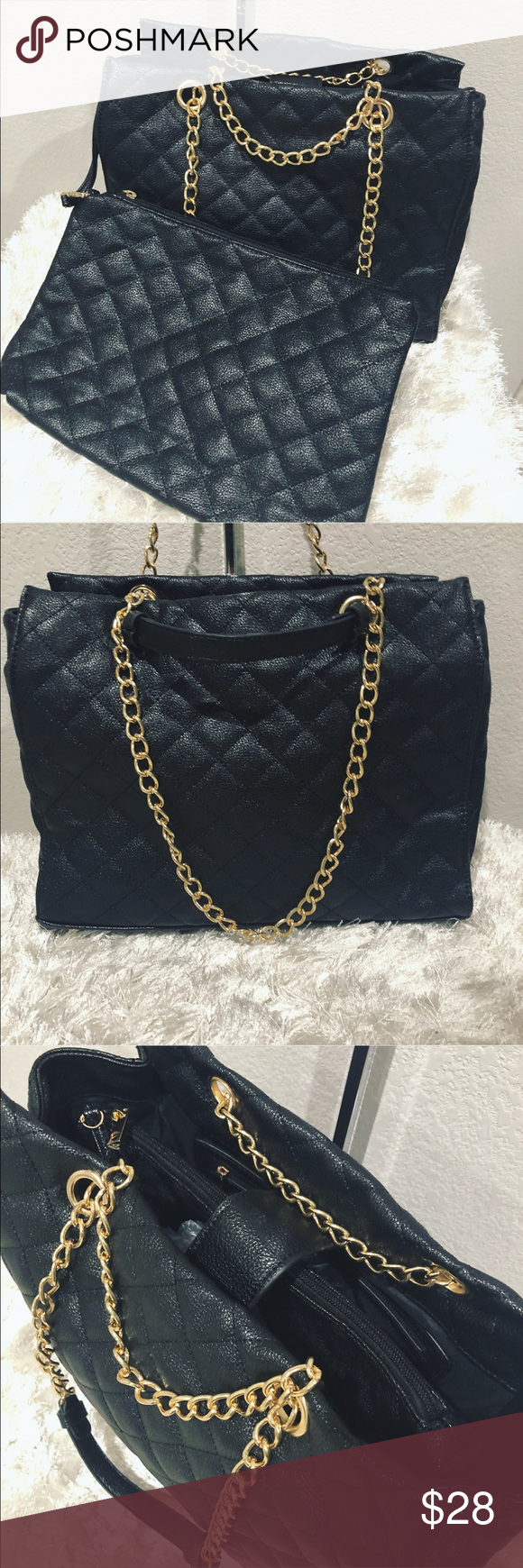 Los Angeles Vintage Purse Museum Manufacturer Index New 2pc Quilted Leather Gold Chain Brand W Dust Bag Bought