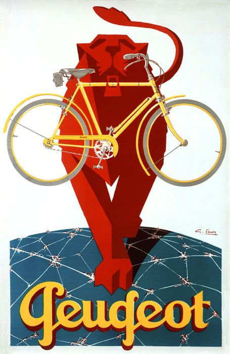 bike lion peugeot bicycle cycle sport vintage poster repro free s/h