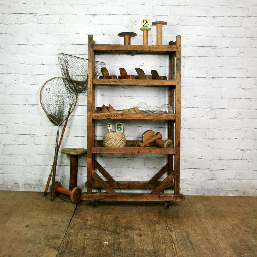 Vintage Industrial Wooden Shoe Factory Rack Trolley #3 – Retail Shop ...