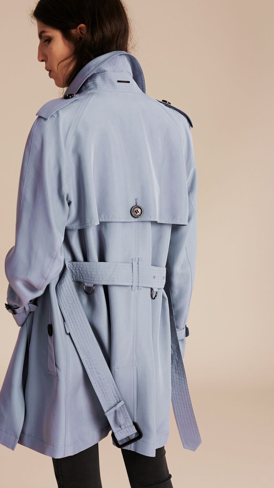 3c2fb0126284f6 A wrap Burberry trench coat in pale blue