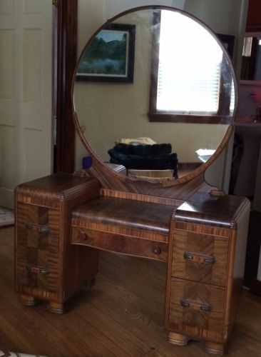 1950 Antique Dressing Table W Bench Round Mirror Solid