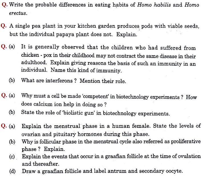 Download CBSE Class 12 Question paper 2016 Biology (All